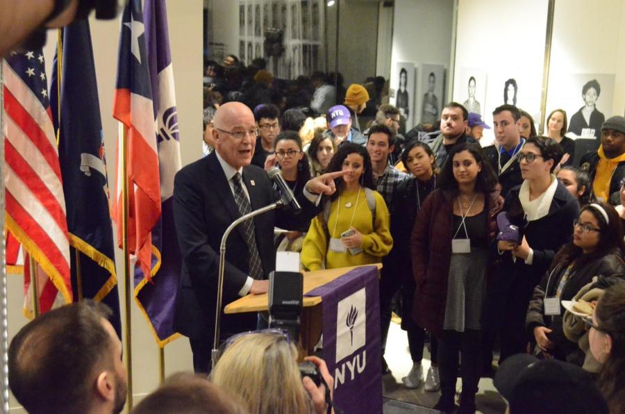 NYU President Hamilton speaking at the welcome reception for the students from Puerto Rico on January 25th, 2018. A number of these students are now asking Hamilton to extend the program.