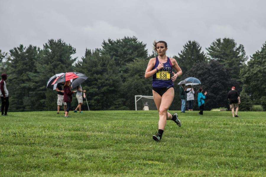 Junior Isabella Steains runs at the Ramapo Invitational in August.