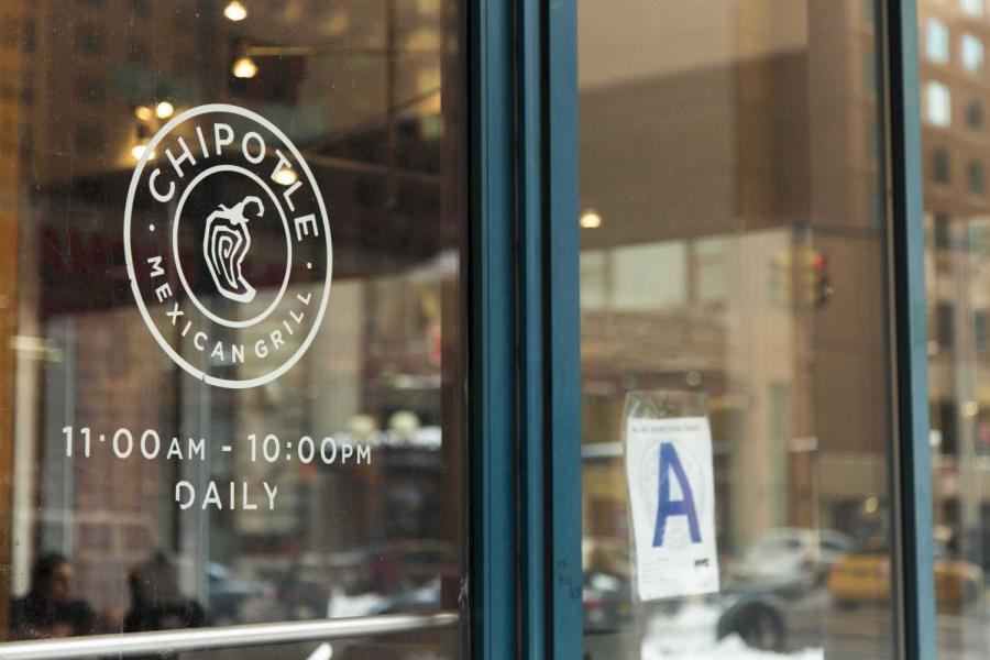 Storefront of fast casual restaurant, Chipotle