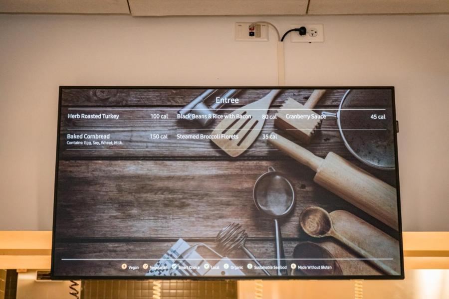 Upgrades to the Third North dining hall include LCD screens for menus.