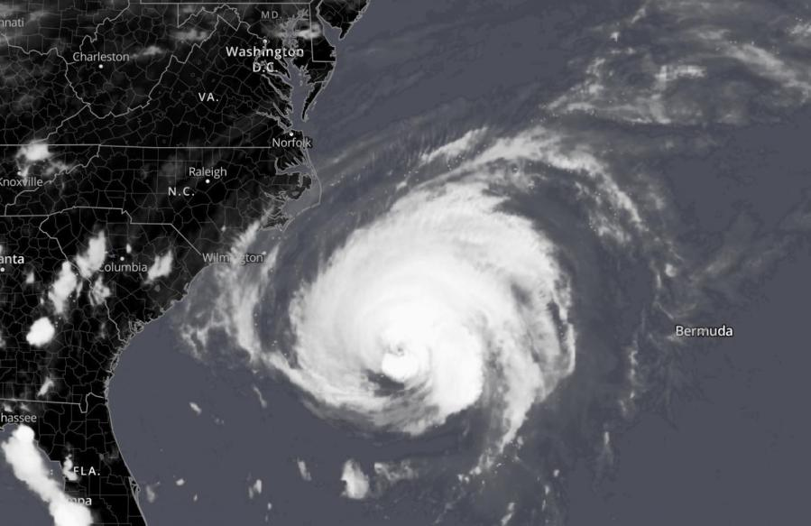 Satellite+image+showing+Hurricane+Florence+approaching+the+East+Coast.