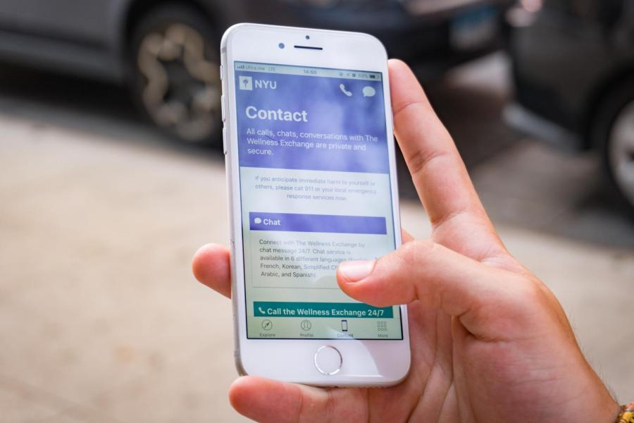 The NYU Wellness app allows student to directly chat with Wellness Exchange counselors.