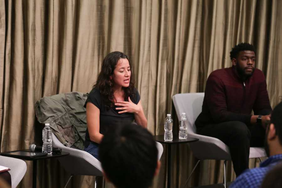Ana Maria Archila and Darius Khalil Gordon in conversation at NYU Wagner's Puck Building. ( Photo by McNeill)
