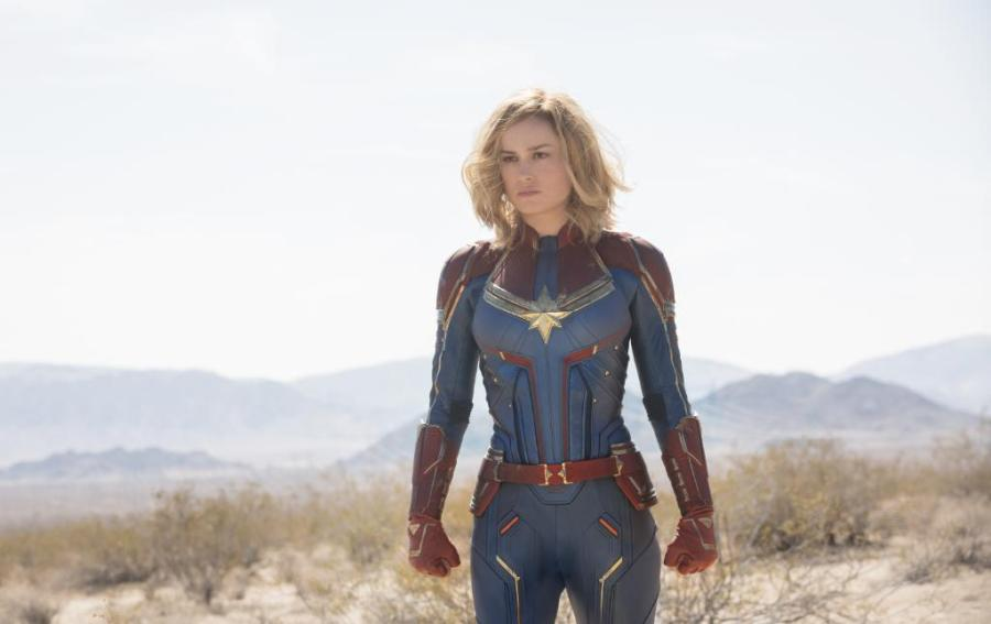 Captain Marvel portrayed as a woman.