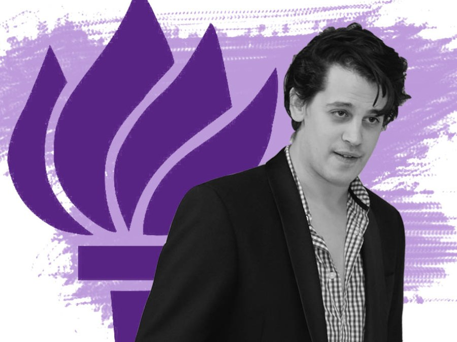 """Conservative commentator Milo Yiannopoulos is scheduled to speak at a class taught by self-proclaimed """"deplorable"""" NYU professor Michael Rectenwald on Wednesday. (Image via flickr.com; illustration by Katie Peurrung)"""