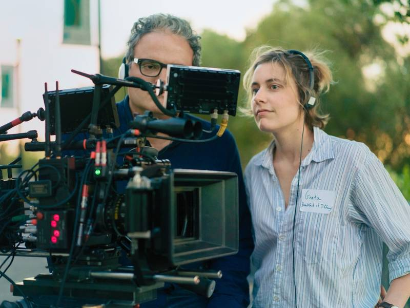 Greta Gerwig and Sam Levy on the set of
