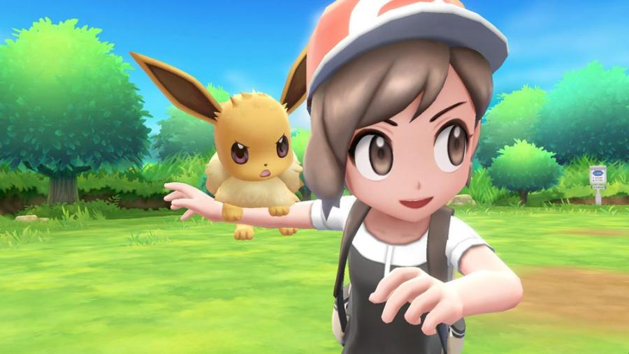A player with Eevee in the new Pokemon game