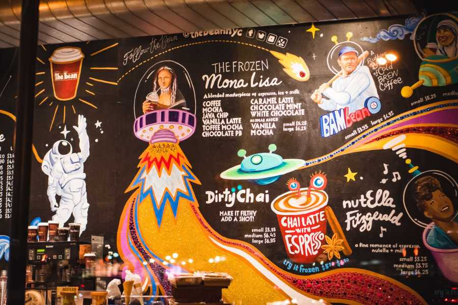 A mural inside the coffee shop The Bean. The shop is known for making an exceptional dirty chai—a chai latte with two shots of espresso. (Photo by Tony Wu)