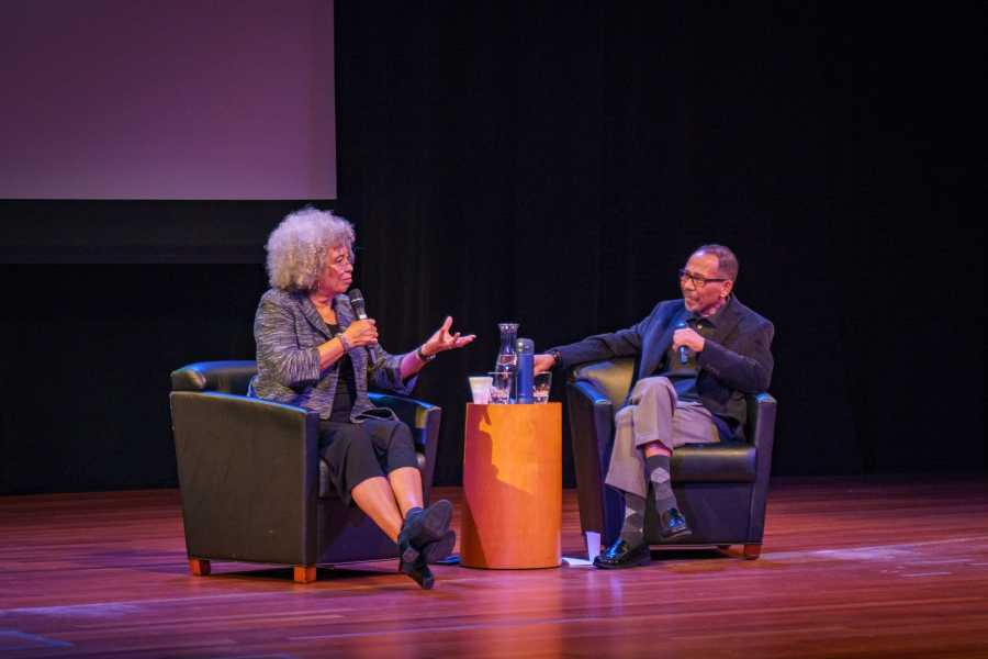 Angela Davis, activist, scholar and writer, in conversation with NYU Professor Ed Guerrero at the Skirball Center on Monday. She talked about the role of arts and aesthetics in today's political struggle. (Photo by Tony Wu)
