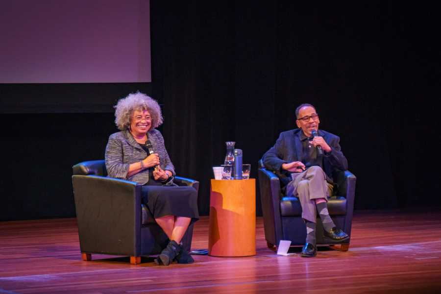 Angela Davis, activist, scholar and writer, in conversation with NYU Professor Ed Guerrero at the Skirball Center on Monday. She talked about the role of arts and aesthetics in todays political struggle. (Photo by Tony Wu)