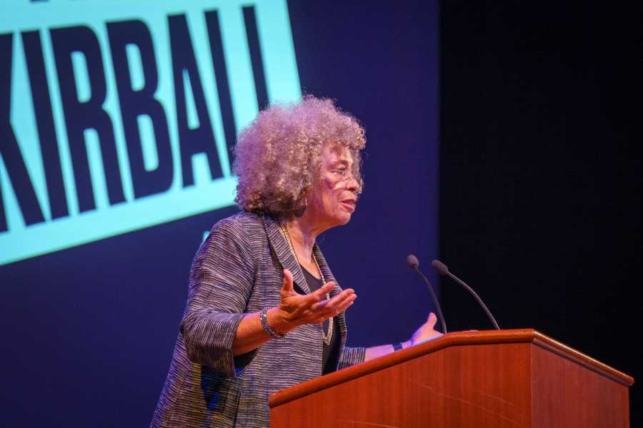 Angela Davis, activist, scholar and writer, delivers a speech during a Skirball Talk at the Skirball Center on Monday. (Photo by Tony Wu)