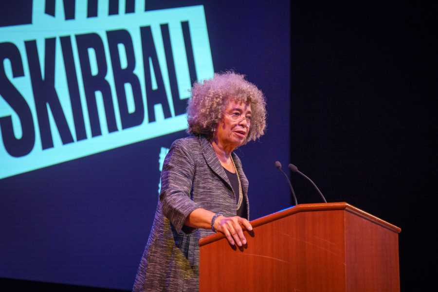 Angela Davis, activist, scholar and writer, delivers a speech during a Skirball Talk at the Skirball Center on Monday. She talked about racism, sexism and their root in todays capitalist social order. (Photo by Tony Wu)