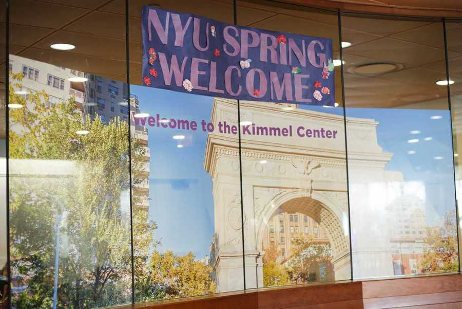 NYU Spring Welcome sign in the Kimmel Center. (Staff Photo by Alina Patrick)