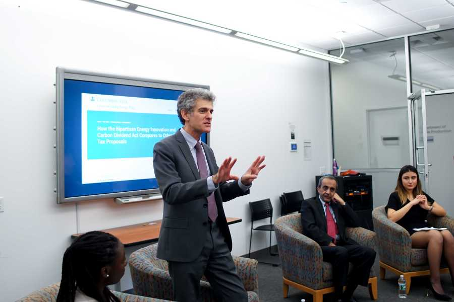 Cecil Scheib, NYU Assistant VP for Sustainability, talked about the sustainability of NYU buildings at UN Initiatives Climate Change Panel. (Staff Photo by Min Ji Kim)