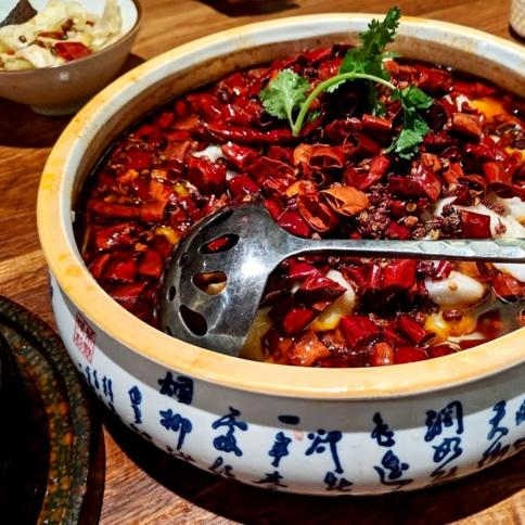 Spicy chili soup from Szechuan Mountain House (Photos by Teresa Zhang)