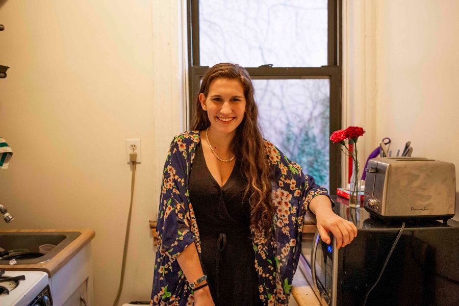 Arbacher stands in her East Village apartment's kitchen. Until this year, Arbacher lived in NYU housing during her first and sophomore years. (Photo by Katie Peurrung)