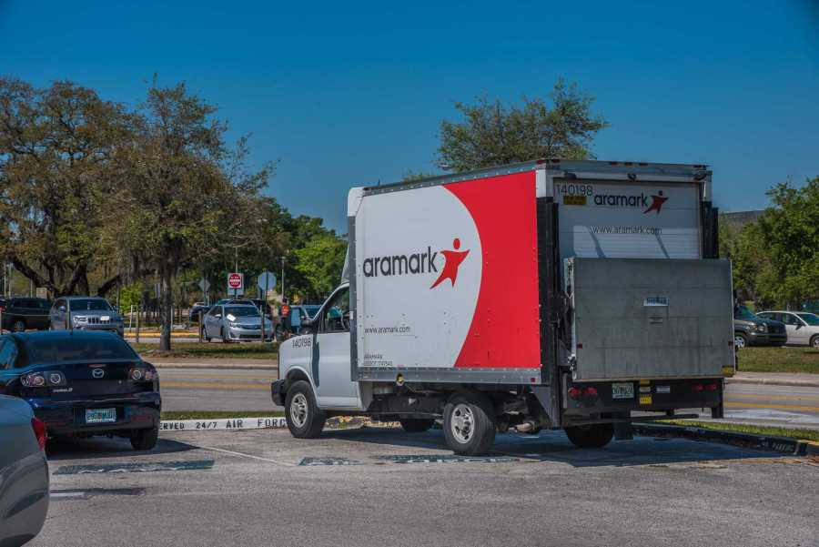 An Aramark truck in Tampa, Fla. NYU will not renew its contract with Aramark, according to multiple NYU Dining employees. (Photo by Sam Klein)