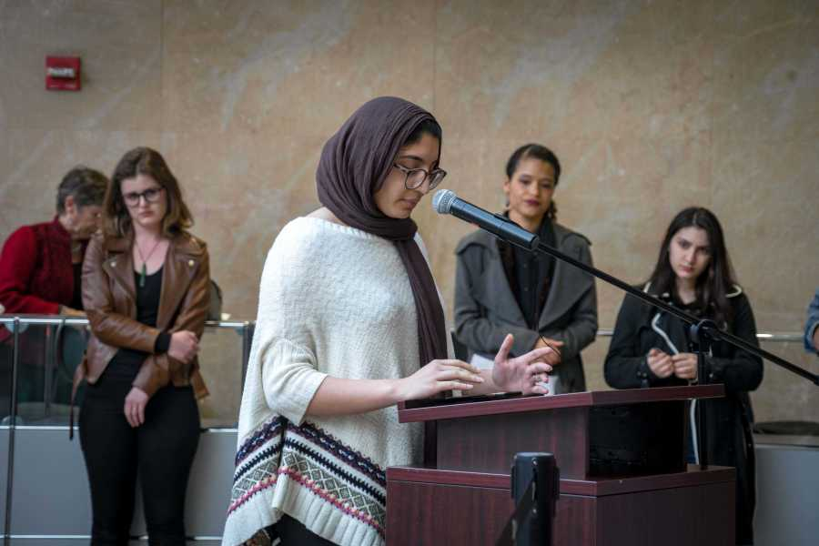Mariam Abukwaik calls for justice. (Photo by Alana Beyer)