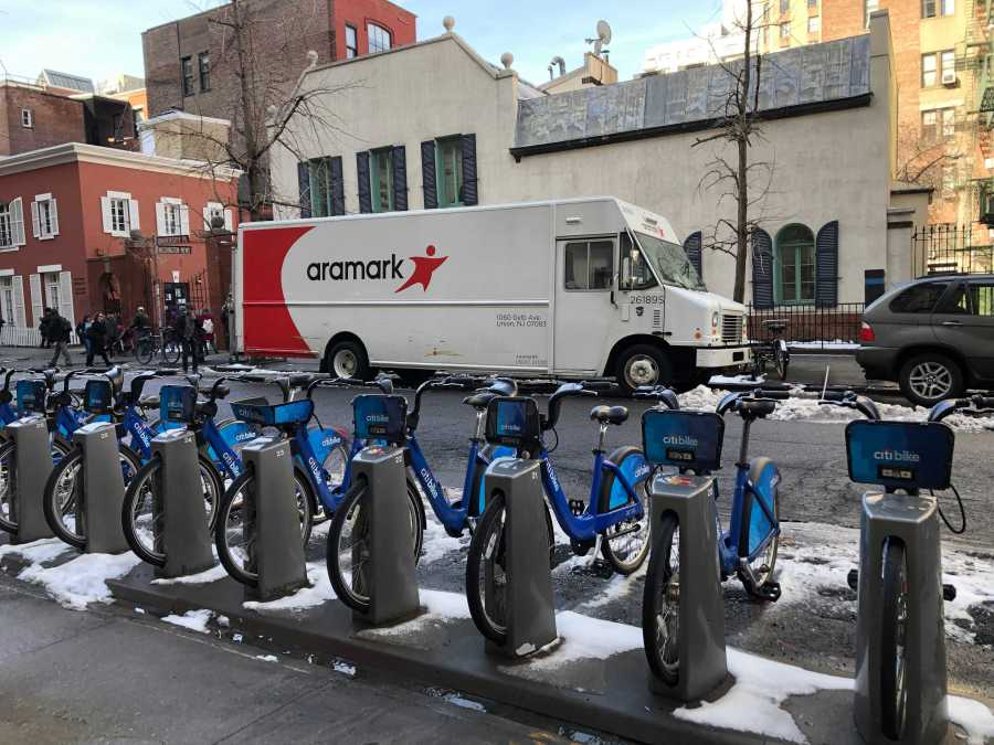 An+Aramark+truck+parked+on+the+NYU+campus.+NYU+will+be+ending+its+contract+with+Aramark.+%28Photo+by+Marva+Shi%29