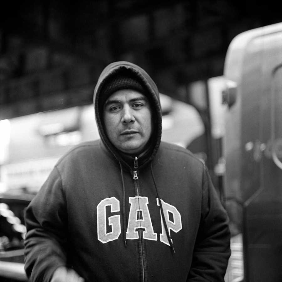 This man approached me. He asked me what I was taking pictures of and explained that he was homeless. He asked if I would take a portrait of him and show it to people, explaining that he was homeless and telling people to look at him.