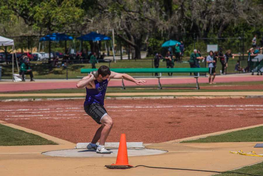 First-year Owen Mountford competes in the shotput in a meet on March 24. Mountford won the discus at the TCNJ Invitational Saturday with a mark of 41.32m. (Photo by Sam Klein)