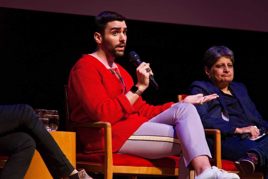 NYU alumnae and current editor in chief of OUT Magazine, Phillip Picardi, references his time covering LBGT rights at Teen Vogue at an NYU Stonewall Talk. (Staff Photo by Alana Beyer)