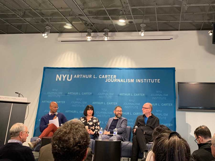 Speakers at the Fake News talk at NYU Journalism (Photo by Meghna Maharishi)