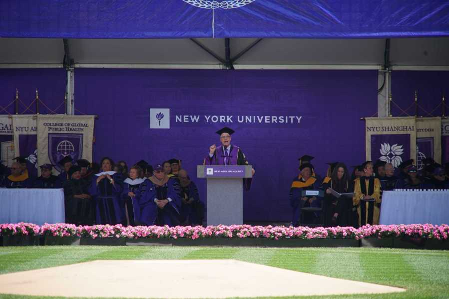 President Andrew Hamilton addresses the Class of 2019 to close out the commencement ceremony. The 2020 All-University commencement has been canceled due to COVID-19 (Photo by Alana Beyer)