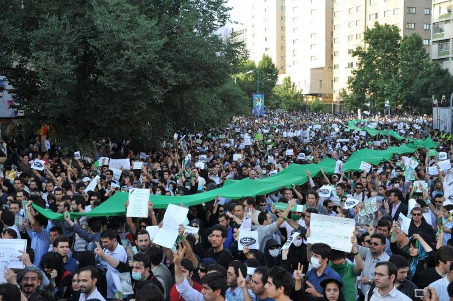 The Green Movement protests in Tehran, which were largely organized through and influenced by Twitter and other social media in 2009. (via Wikipedia)