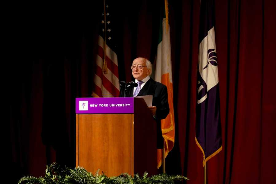 Michael+D.+Higgins%2C+President+of+Ireland%2C+delivers+a+lecture+titled+%22On+Responding+to+the+Interacting+Crises+of+Our+Times%22+to+NYU+at+the+Eisner+and+Lubin+Auditorium+on+Tuesday.+His+speech+touches+on+points+like+climate+change+and+sustainability.+%28Staff+Photo+by+Min+Ji+Kim%29