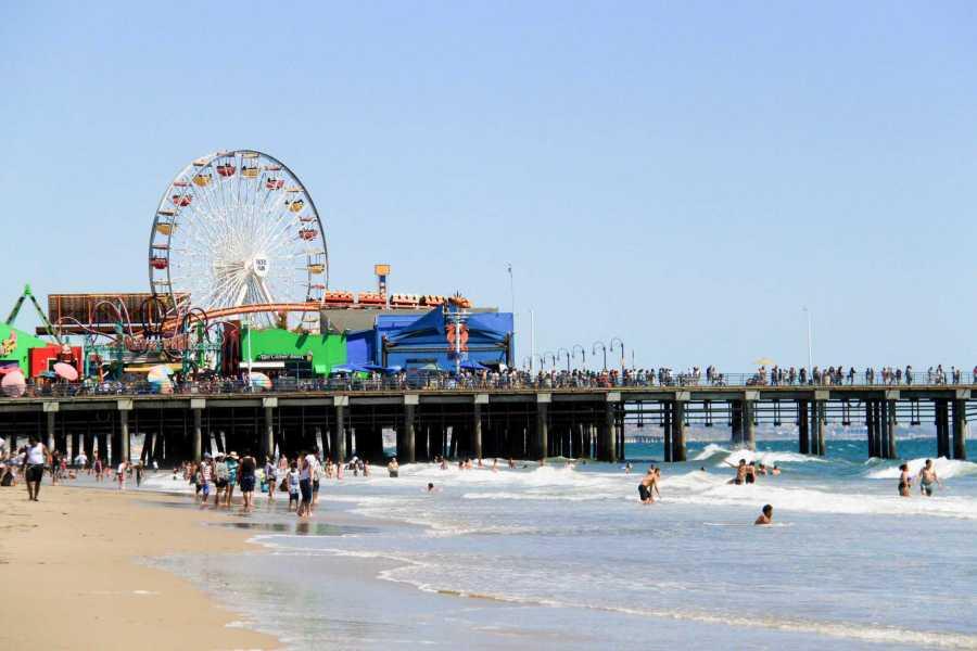LA county's Santa Monica beach and iconic pier. (Photo by Alexandra Chan)