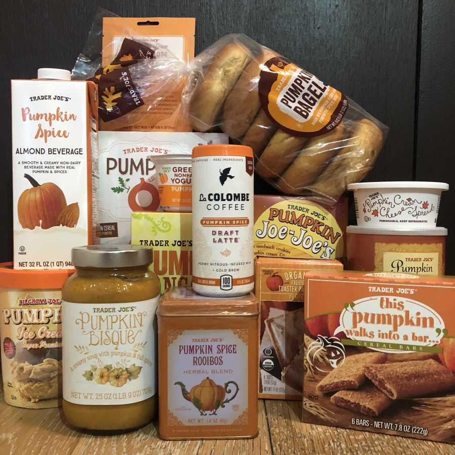 Pumpkin-spice-flavored products from Trader Joes. WSN Dining Editor talks about her two-day-long experiment of eating only pumpkin-spice-flavored food. (Photo by Calais Watkins)