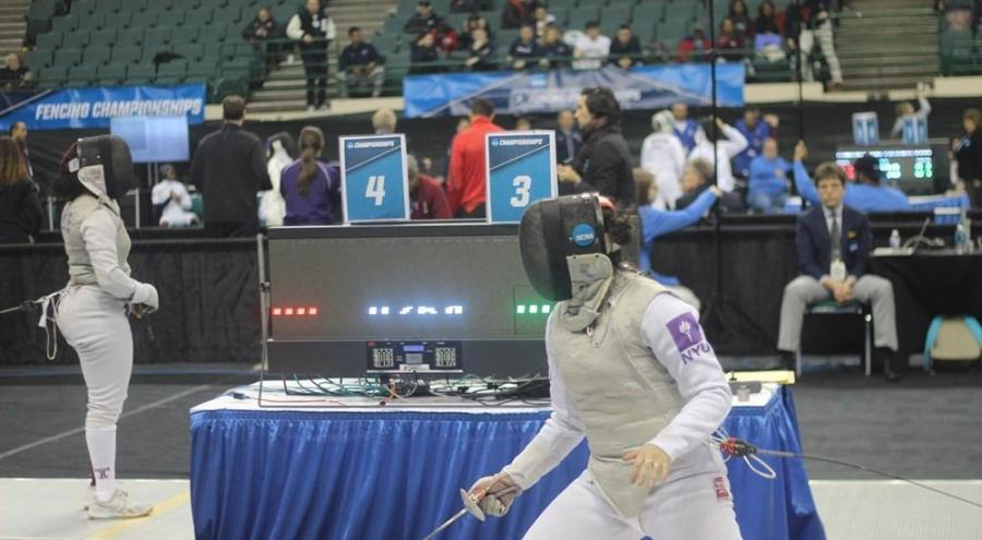 Sophomore Tiffany Luong competes at the NCAA Fencing Championships. (Via NYU Athletics)