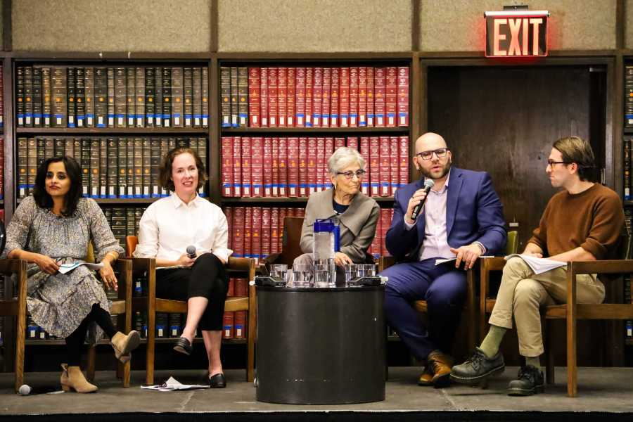 Panelists include Paula Chakravatty, associate professor at the Gallatin School of Individualized Study and the Department of Media, Culture, and Communication at NYU Steinhardt; Jonathan Friedman, director of the Campus Free Speech project at PEN America; Jennifer Ruth, professor of film studies at Portland State University and co-author of The Humanities, Higher Education, and Academic Freedom; and Zach Rivers, PhD candidate in the Department of Comparative Literature at the Graduate School of Arts and Science.  (Staff Photo by Elaine Chen)