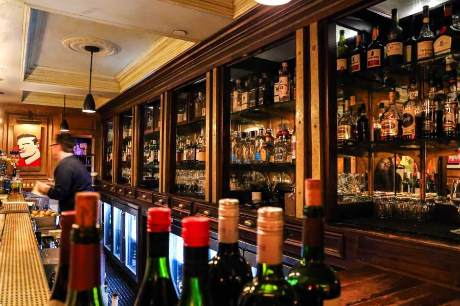 The Marlton Hotel Bar, at 5 W 8th St, a great night out spot recommended by Calais Watkins. (Staff photo by Elaine Chen)