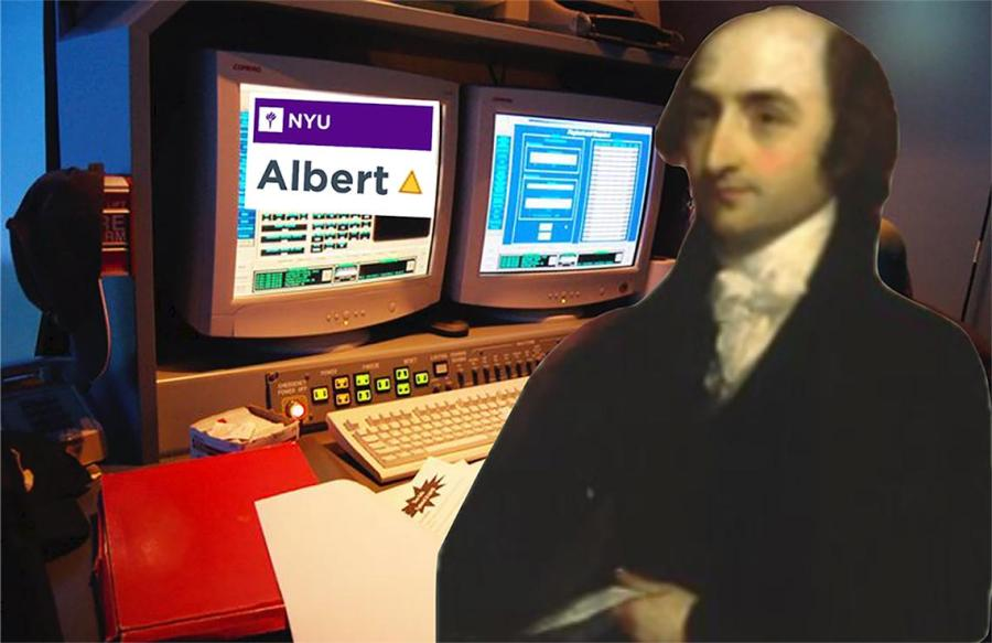 NYU Albert website is run manually by one man, whose office is in Bobst LL3 so no one discovers him. His name is Albert. (Illustration by Jorene He)