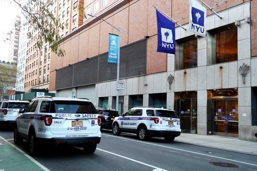 NYU Saferide cars outside Palladium Hall. (Staff Photo by Chelsea Li)