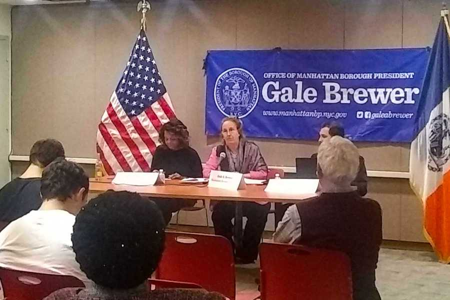 Manhattan Borough President Gale Brewer held a public hearing last Monday night to discuss the best way to religious buildings to share spaces for non-profit organizations. (Photo by Alexandria Johnson)