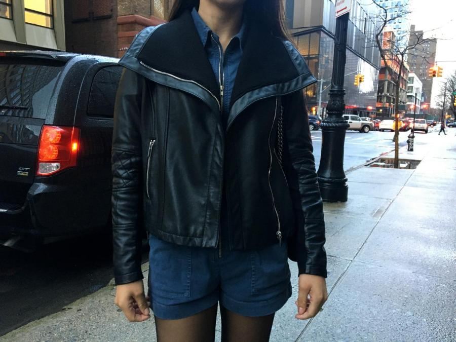 Replace the old-fashioned leather Moto jacket with a trendy leather blazer this winter. (Photo by Talia Barton)