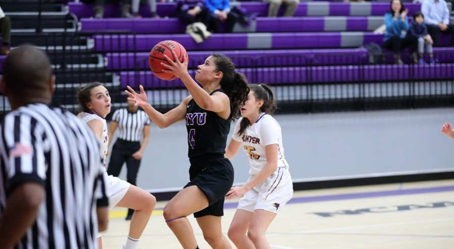 With a career high of points per game, Junior Guard Janean Cuffee is leading the women's basketball team in a new season. (Photo via NYU Athletics)