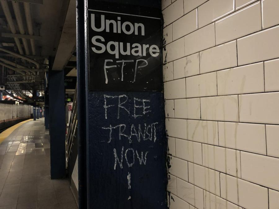 Protests erupted in subway stations like Union Square following an increase in police officers and a fare hike (Staff Photo via Anna-Dmitry Muratova
