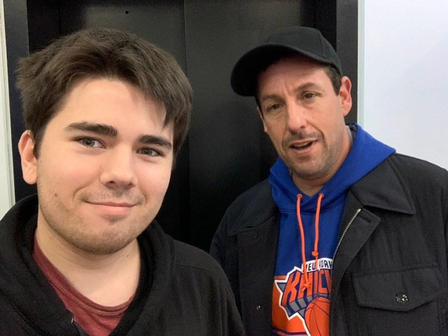 WSN Photo Editor Tisch junior Jake Capriotti takes a selfie with Adam Sandler. (Staff Photo by Jake Capriotti)