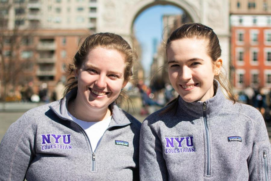 Gallatin senior Lily Hitelman and CAS junior Alexandra Daley are co-captains of the NYU equestrian team. The team had four riders qualify for their regionals. (Staff Photo by Jake Capriotti)