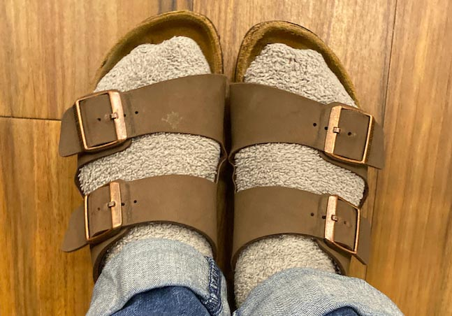 A student shows off their pair of Birkenstocks. Going to school in New York City means there are more strict fashion rules that must be followed. (Photo by Sammy Kumaran)