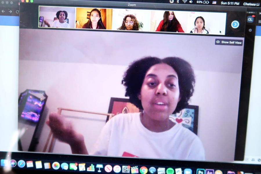 NYU Tisch drama student Callie Holley opens up the Students of Color Virtual Town Hall. The meeting centered around problems students of color faced and resources needed during this health crisis. (Staff Photo by Chelsea Li)