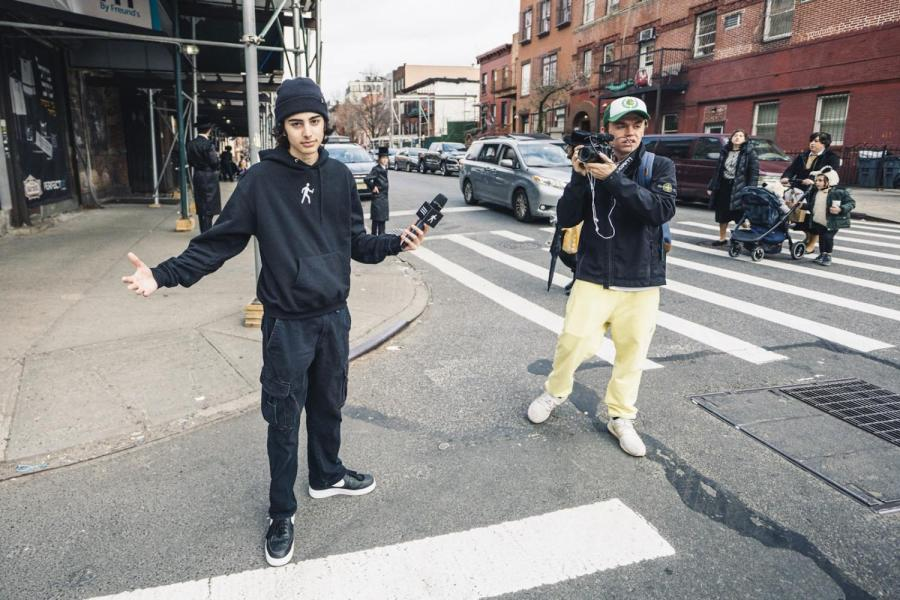 Trent Simonian, a first-year Film major at Tisch (left) and Jack Byrne, a first-year concentrating in Business and Entertainment at Gallatin (right) created Sidetalk NYC. Simonian and Byrne explore the streets of NYC and ask random pedestrians various questions for a new man-on-the-street series on Instagram. (Photo by Justin Aharoni)
