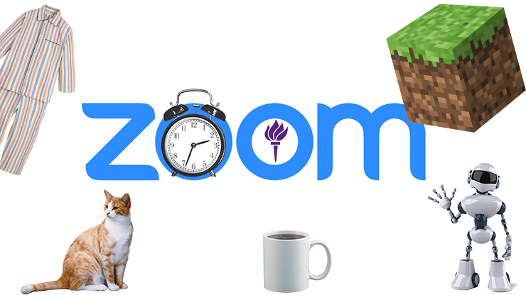 A main player in the transition to remote learning is video conferencing on Zoom. Students reflect on the change, including a new lack of equipment and issues with time zones. (Staff Illustration by Alexandra Chan)