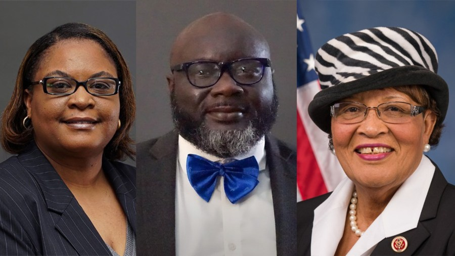 From left to right, Dr. Melody Goodman, Dr. Emanuel Peprah, and Congresswoman Alma Adams spoke during a webinar hosted by NYU School of Global Public Health. The panel addressed how minority groups, especially the African American community, were especially affected by the current health crisis. (Via NYU, Staff Illustration by Chelsea Li)
