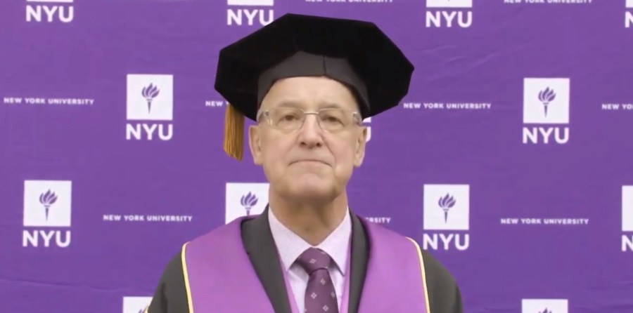 University President Andrew Hamilton spoke to graduates in a pre-recorded video livestream, on that same day the in-person commencement would have been. (Image from Abby Hofstetter)