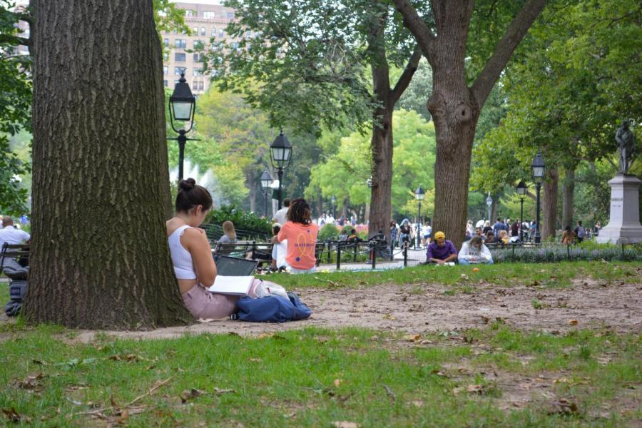 NYU students sit distantly around Washington Square Park to complete classwork and to talk to friends. While physically distanced, students have found ways to socialize online. (Staff Photo by Manasa Gudavalli)